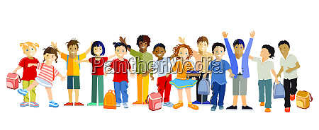 schoolchildren happily together vector illustration