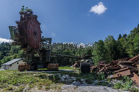 old bucket wheel excavator panorama