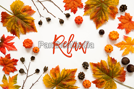 bright colorful autumn leaf decoration english