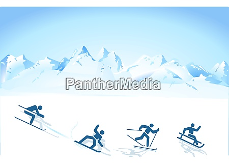 winter sports in the mountains