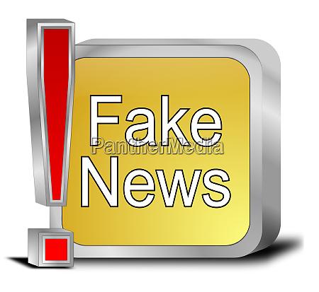 golden fake news button 3d
