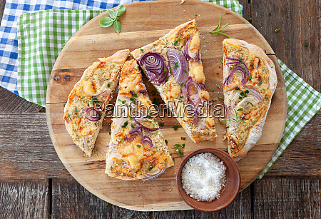 homemade flammkuchen with onions
