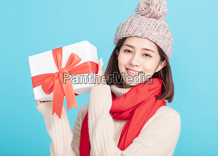 young woman in winter dress and