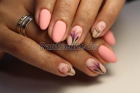 trendy manicure design on a beautiful