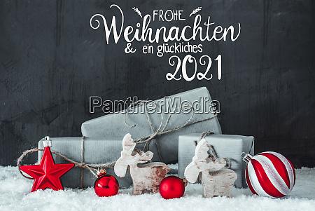 snow gift red decoration glueckliches 2021