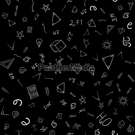 abstract school doodles seamless pattern