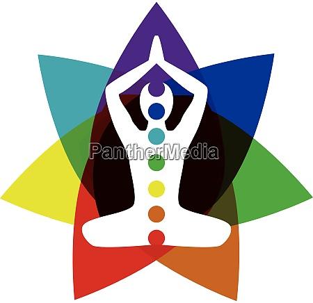 yoga posing with chakra elements