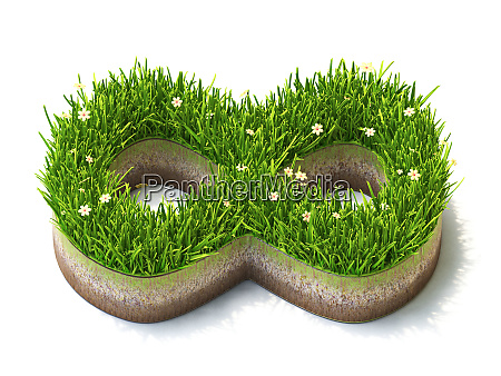 infinity sign made of grass 3d