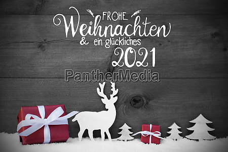 reindeer gift tree snow glueckliches 2021