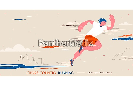 cartoon style cross country running event