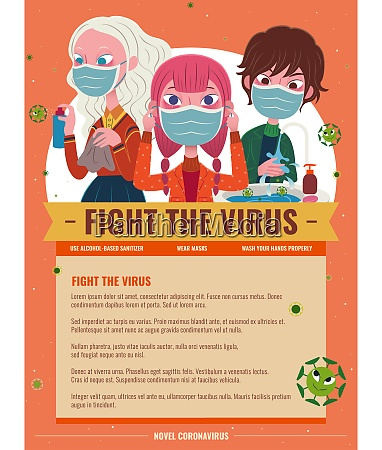 fight the virus cartoon poster with