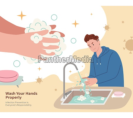a man properly washing hands with