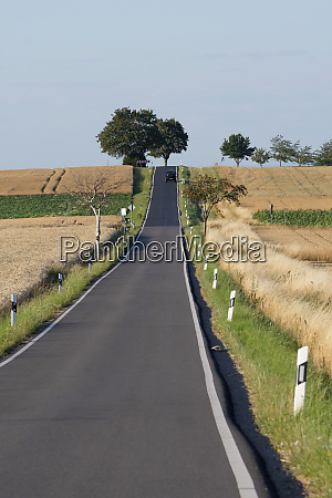 lonely country road in summer through