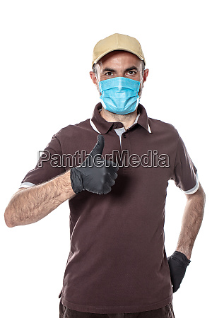 courier man shipping with mask and