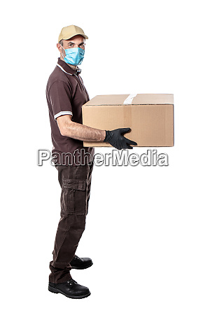 delivery man with mask and gloves