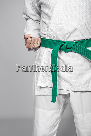 detail of a martial arts practitioner