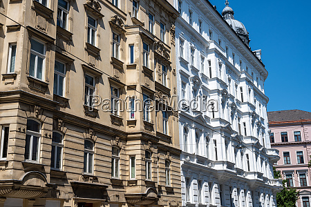 refurbished old apartment buildings seen in