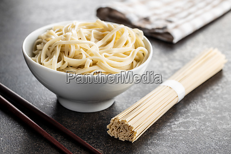 cooked udon noodles traditional japanese noodles
