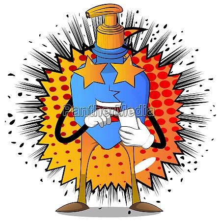 cartoon bottle of hand sanitizer gel