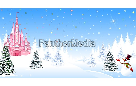 christmas castle winter night forest snow
