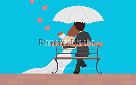 married couple love romantic illustration