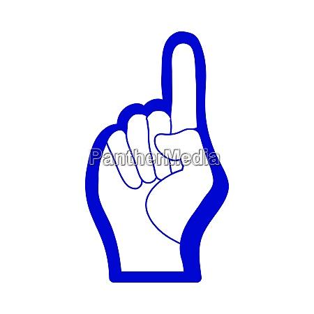 fan foam hand with number one