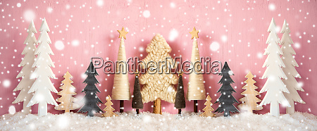 banner christmas trees snow grungy pink