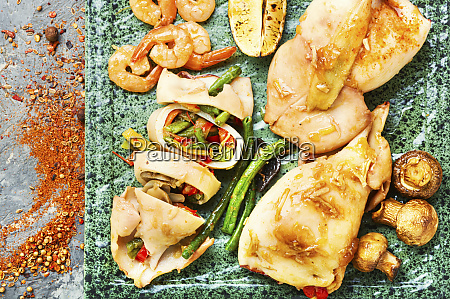 baked squid stuffed