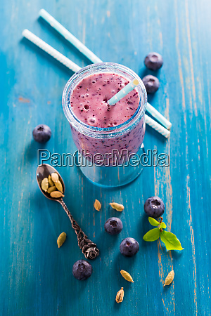 blueberry lassi or smoothie drink with