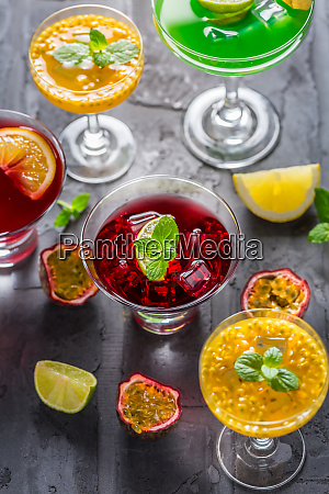 assortment of different cocktails with fresh