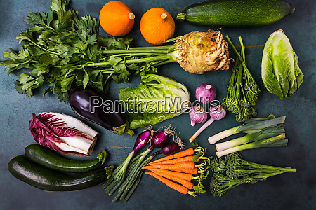 assortment of healthy vegetables and ingredients