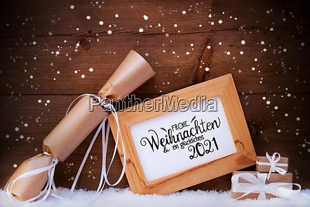 frame gift snow snowflakes glueckliches 2021