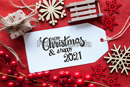 bright red christmas decoration label merry