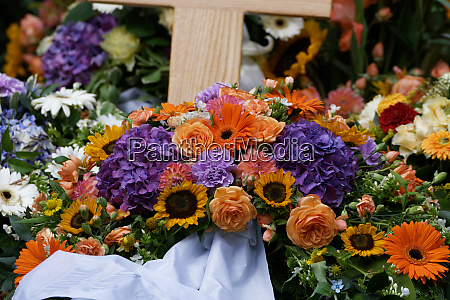 flowers and funeral wreaths on a