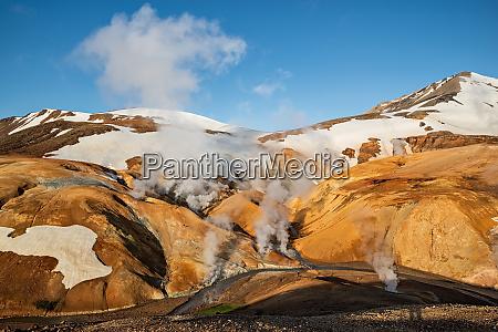 sunrise in kerlingarfjoll geothermal area iceland