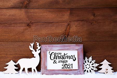 vintage frame deer tree snow merry