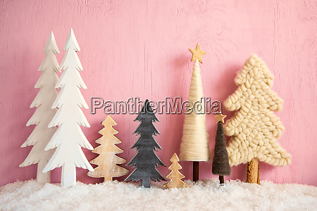 christmas trees snow retro pink grungy