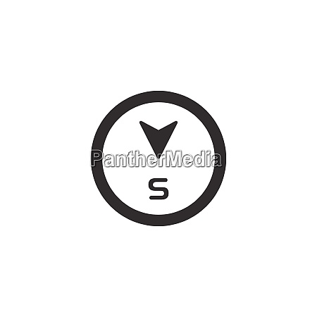 south, direction., isolated, compass, icon., weather - 28816149