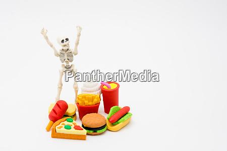 skeleton and foods enjoy eating until