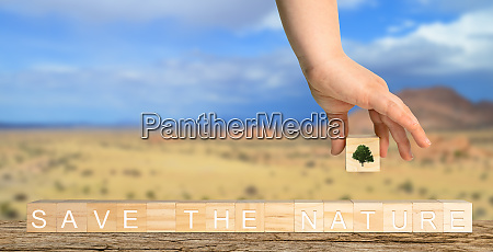 wooden cubes labelled save the nature