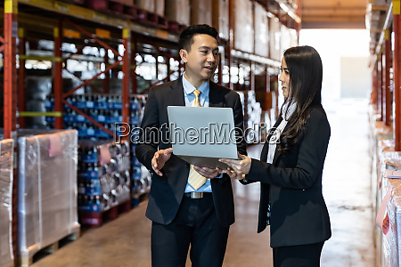 businessman discuss about inventory in distribution
