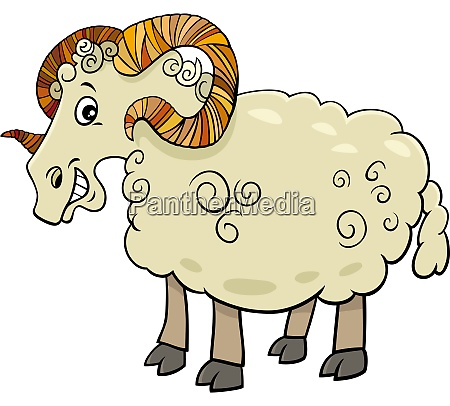 funny ram farm animal cartoon character
