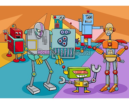 funny robot characters group cartoon illustration