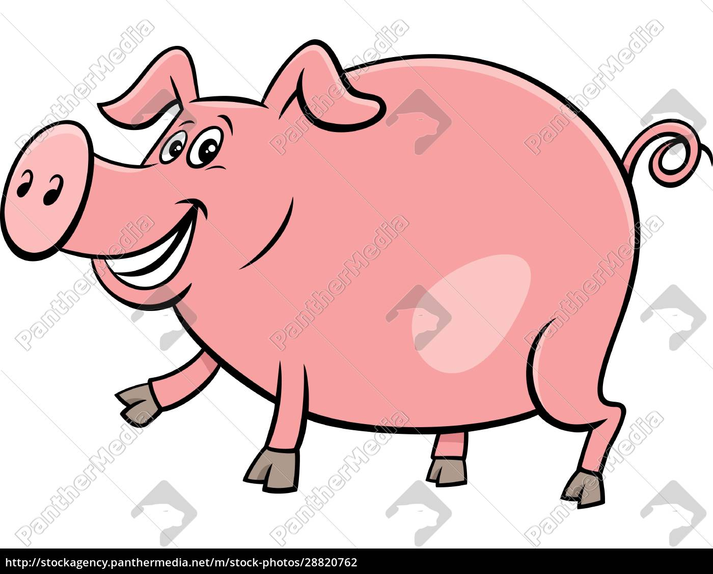 happy, pig, farm, animal, character, cartoon - 28820762