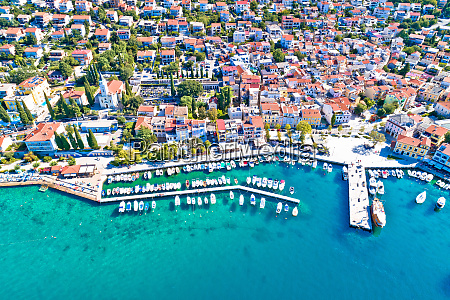 tourist town of selce waterfront aerial