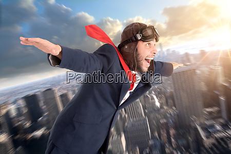 businessman flying