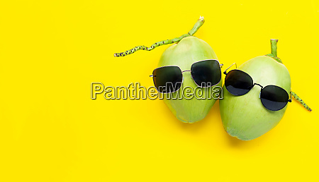 two young oconut with sunglasses on