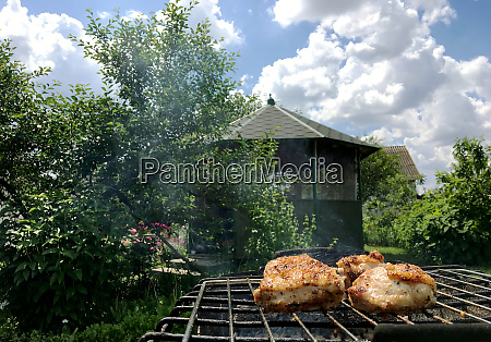 grilled chicken meat on the grill
