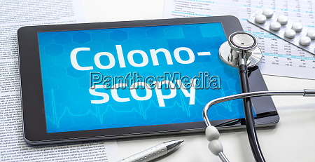 the word colonoscopy on the display