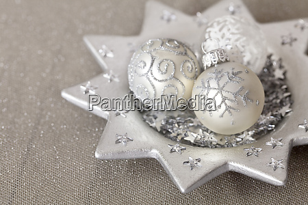 elegant christmas decoration with silver baubles